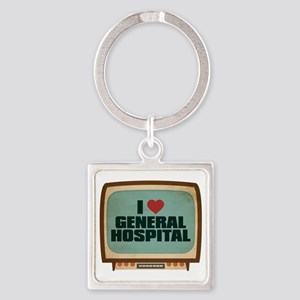 Retro I Heart General Hospital Square Keychain