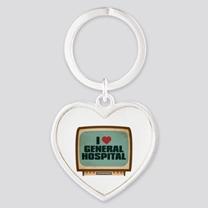 Retro I Heart General Hospital Heart Keychain