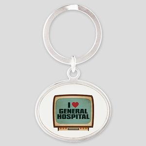 Retro I Heart General Hospital Oval Keychain