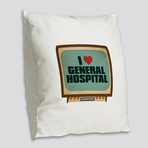 Retro I Heart General Hospital Burlap Throw Pillow