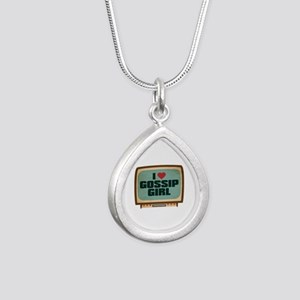 Retro I Heart Gossip Girl Silver Teardrop Necklace