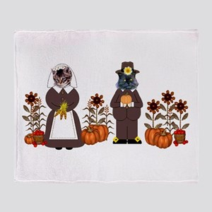 Thanksgiving Cats Throw Blanket