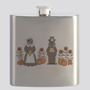 Thanksgiving Cats Flask
