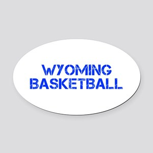 WYOMING basketball-cap blue Oval Car Magnet