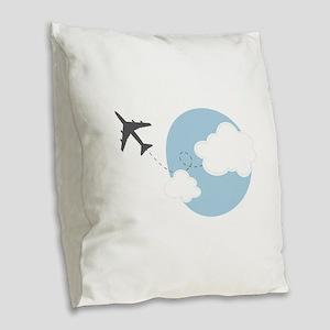 Travel The World Burlap Throw Pillow