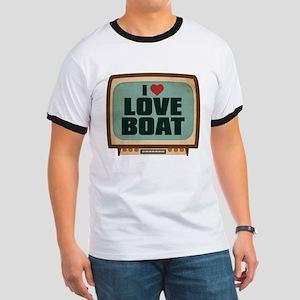 Retro I Heart Love Boat Ringer T-Shirt