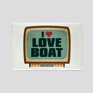 Retro I Heart Love Boat Rectangle Magnet