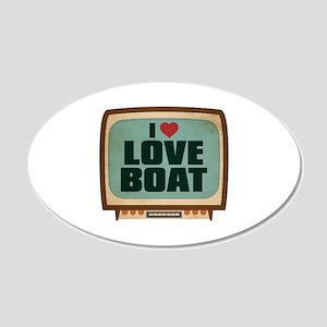 Retro I Heart Love Boat 22x14 Oval Wall Peel