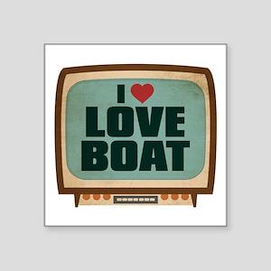 """Retro I Heart Love Boat Square Sticker 3"""" x 3"""""""