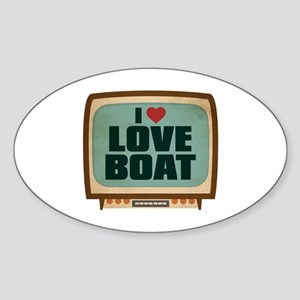 Retro I Heart Love Boat Oval Sticker
