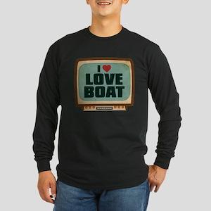 Retro I Heart Love Boat Long Sleeve Dark T-Shirt