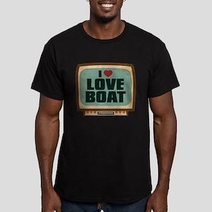 Retro I Heart Love Boat Men's Dark Fitted T-Shirt