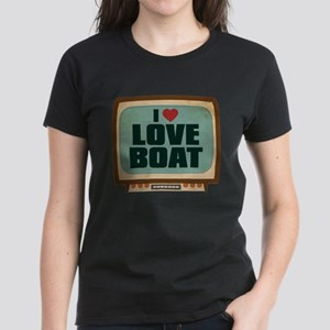 Retro I Heart Love Boat Women's Dark T-Shirt