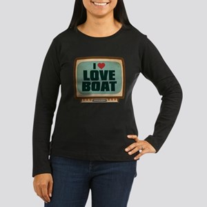 Retro I Heart Love Boat Women's Dark Long Sleeve T