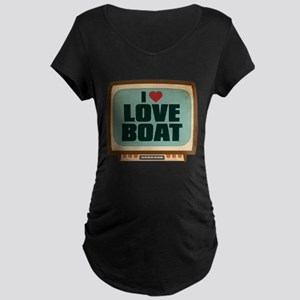 Retro I Heart Love Boat Dark Maternity T-Shirt