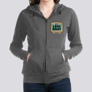 Retro I Heart Love Boat Women's Zip Hoodie