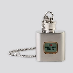 Retro I Heart Mike and Molly Flask Necklace