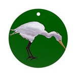 Egret Fishing Round Ornament