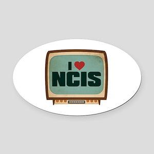 Retro I Heart NCIS Oval Car Magnet
