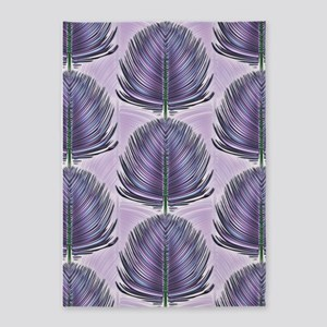 Stylized Peacock Feather - Purple 5'x7'Area Rug