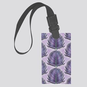 Stylized Peacock Feather - Purpl Large Luggage Tag
