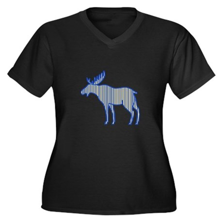 Moose Silhouette Drawing Plus Size T-Shirt