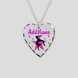 GYMNAST GIRL Necklace Heart Charm