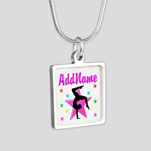 GYMNAST GIRL Silver Square Necklace
