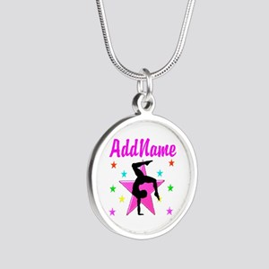 GYMNAST GIRL Silver Round Necklace