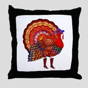 Thanksgiving Fashion Turkey Throw Pillow