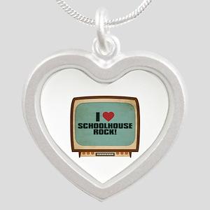 Retro I Heart Schoolhouse Rock! Silver Heart Neckl
