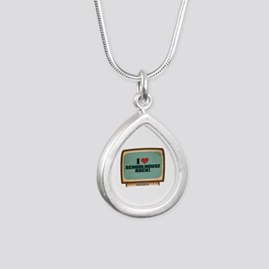 Retro I Heart Schoolhouse Rock! Silver Teardrop Ne