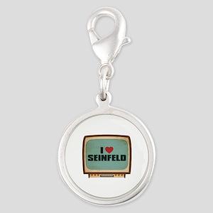 Retro I Heart Seinfeld Silver Round Charm