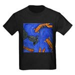 Happy Swimming Goldfish Kids Dark T-Shirt