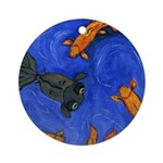 Happy Swimming Goldfish Ornament (Round)