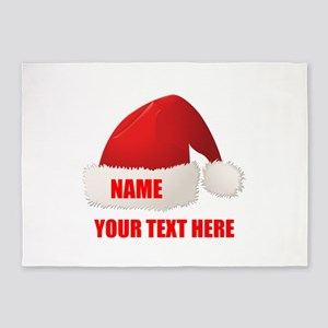 Christmas Santa Hat Personalized 5'x7'Area Rug
