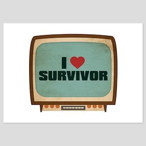 Retro I Heart Survivor 5x7 Flat Cards