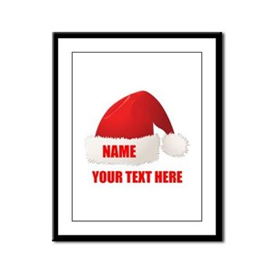 Christmas Santa Hat Personalize Framed Panel Print