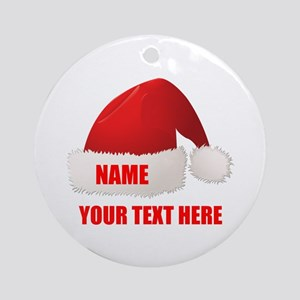 Christmas Santa Hat Personalized Round Ornament