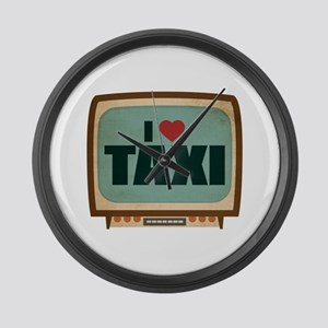 Retro I Heart Taxi Large Wall Clock