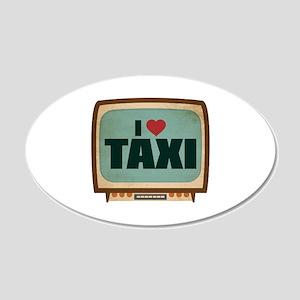 Retro I Heart Taxi 22x14 Oval Wall Peel