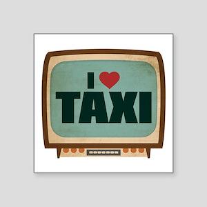 """Retro I Heart Taxi Square Sticker 3"""" x 3"""""""