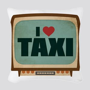 Retro I Heart Taxi Woven Throw Pillow