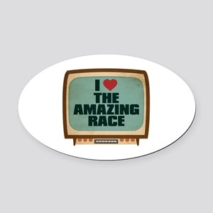 Retro I Heart The Amazing Race Oval Car Magnet