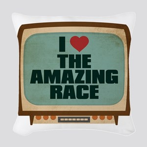 Retro I Heart The Amazing Race Woven Throw Pillow