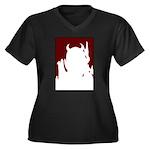 Devil Women's Plus Size V-Neck Dark T-Shirt