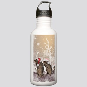 Funny christmas rats with christmas hat Water Bott