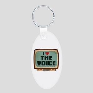 Retro I Heart The Voice Aluminum Oval Keychain