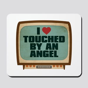 Retro I Heart Touched by an Angel Mousepad