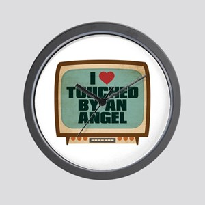 Retro I Heart Touched by an Angel Wall Clock